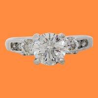 14 Karat White Gold Certified 0.78 Carat Diamond Engagement Ring