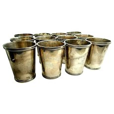 12 Sterling Silver Thoroughbred Club Dinner Purse Bewitch Prize Julep Cup TCA 1947