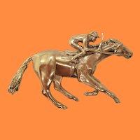 Vintage Midcentury 14 Karat Yellow Gold Jockey Thoroughbred Pin Pendant