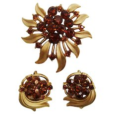 Vintage Trifari Three Piece Rhinestone Set Pin and Earrings