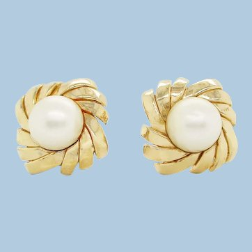 Vintage Mid Century Ciner Gold and Pearl Earrings