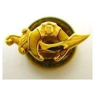 Vintage 14K Gold Enamel Shriners Masonic Scimitar Pin