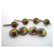 Floral Essex Crystal Cufflink and Shirt Stud Set