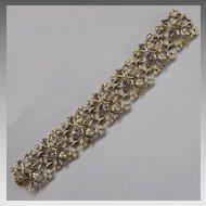Lavender Aurora Borealis Coro Bracelet White Enamel Goldtone circa 1960s