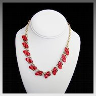 Coro Thermoset Red Hearts Choker Necklace 1950s Vintage