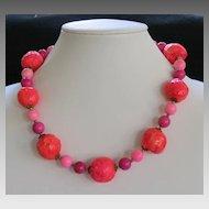 Vintage Neon Mod Paper Mache Necklace Hot Pink Orange Beads