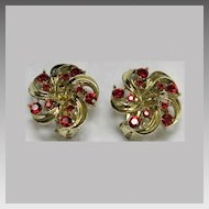 Lisner Red Rhinestone Goldtone Clip Earrings