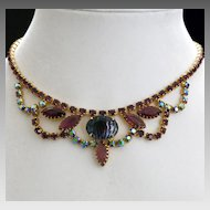 Festoon Swag Choker Necklace Art Glass AB Aurora Borealis Rhinestone