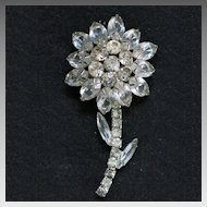 Vintage Rhinestone Silvertone Flower Brooch Unsigned Beauty 3 inches