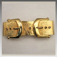 Mimi Di N Gold Plated Figural 2-part Belt Buckle 1988