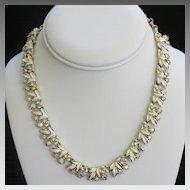Coro Enamel Aurora Borealis AB Rhinestone Flower Necklace Vintage