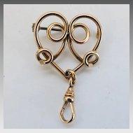 Art Nouveau Heart Watch Pin GF ca 1915 Antique Gold Filled