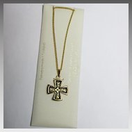24K GP Damascene Damasquinado Maltese Cross Pendant Necklace Original Card Toledo