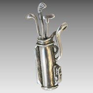 Taxco Sterling Golf Club Figural Pendant Pin Brooch SS TM-90 Mexico Molina Vintage Dimensional