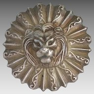 Vintage Aluminum Lion Face Dimensional Brooch Pin Leo