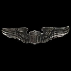 WWII Sterling Pilot Wings Cap Pin Army Air Force Militaria SS Silver Patina