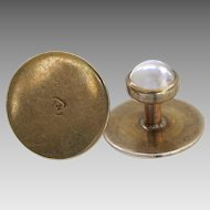 Antique 14k Moonstone Carrington Button Studs Shirt Collar Gold