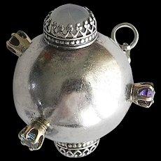 Vintage Silver Gem Sputnik Ball Pendant Sterling Atomic SS - Red Tag Sale Item