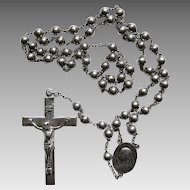 Vintage Silver Rosary Beads Catholic Sterling SS Religious 5 Decade 5mm