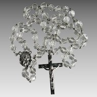 Vintage Faceted Crystal Catholic Rosary Beads Bride Religious