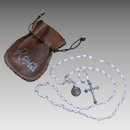 Vintage Sterling Cased Glass Crystal Rosary Beads SS Roma 1975 Leather Pouch Silver