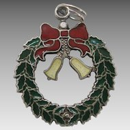 Silver Enamel Christmas Wreath Charm Colorful J.M. Fisher Sterling