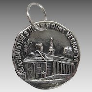 Vintage Silver Mount Vernon Souvenir Charm Sterling SS George Washington Home