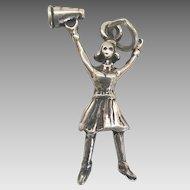 Vintage Silver Figural Cheerleader Charm Sterling SS