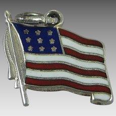 Vintage Silver Danecraft Enamel American Flag Charm Sterling Old Glory USA Made