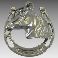 Vintage Silver Horse with Horseshoe Charm Sterling Good Luck Equestrian