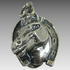 Vintage Silver  Horse with Horseshoe Charm Sterling High Profile