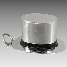 Vintage Silver Top Hat Pendant Charm Sterling Figural Tophat