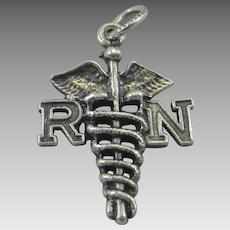 Vintage Danecraft Silver Nurse Pendant Charm Sterling RN Caduceus