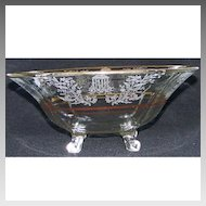 Vintage Paden City Gazebo Fruit Bowl Footed Gold Trim