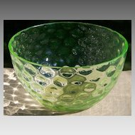 EAPG Vaseline Glass Polka Dot Finger Bowl - Dot Optic