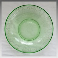 Depression Glass Cameo Ballerina Large Berry Bowl Hocking Glass Green