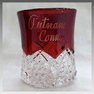 EAPG Ruby Stained Souvenir Tumbler Putnam Connecticut CT