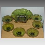 7 Piece Green EAPG Colorado Berry Set with Gold Trim