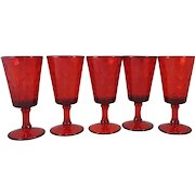 5 Red Vintage LG Wright Diamond Quilted Optic Water Goblets 10 ounce