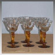 6 Tiffin 15071 Optic Cordial Liqueur Goblets Amber Stems