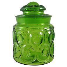 Vintage Green Moon and Stars Small Canister 7 inch
