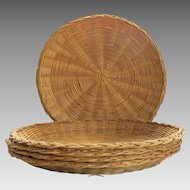 5 Vintage Rattan Plate Liner Holders Picnic BBQ Outdoor Wedding Country Prairie