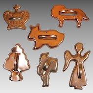 6 Vintage Cookie Cutters Santa Crown Angel Lion Rabbit Anodized Aluminum Copper Color