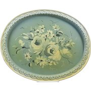 Vintage Farmhouse Toleware Oval Platter Shabby Age Yellowing
