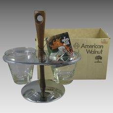 Vintage American Walnut Carousel Server Chrome Glass 114 MIB