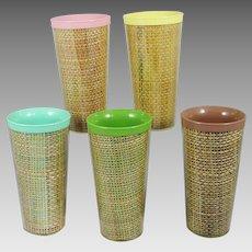 5 Vintage Raffia Burlap Tumblers Plastic Insulated 12 oz