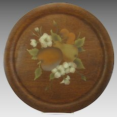 Vintage Wood Stencil Theorem Toleware Platter Round Farmhouse Country