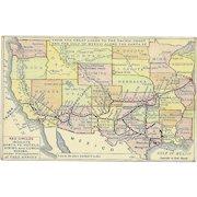 Santa Fe Railroad Map Postcard Antique Fred Harvey