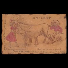 Antique Chicago Leather Telephone Donkey Postcard 1907