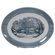 Vintage Currier and Ives Oval Serving Platter 13 by 10 Inn at Winter